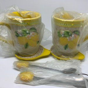 S/2 Fruit Mugs with Lids & Spoons